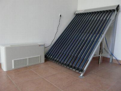 fan coil és vákuumcsöves napkollektor